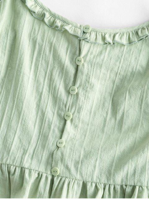 ZAFUL Camiseta da Colheita do Botão Camisole Cortado - Luz verde L Mobile