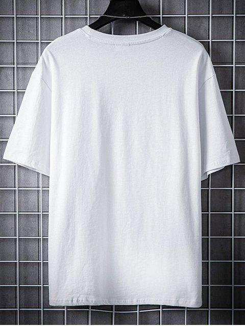 Chinese Characters Print Graphic T-shirt - أبيض 4XL Mobile