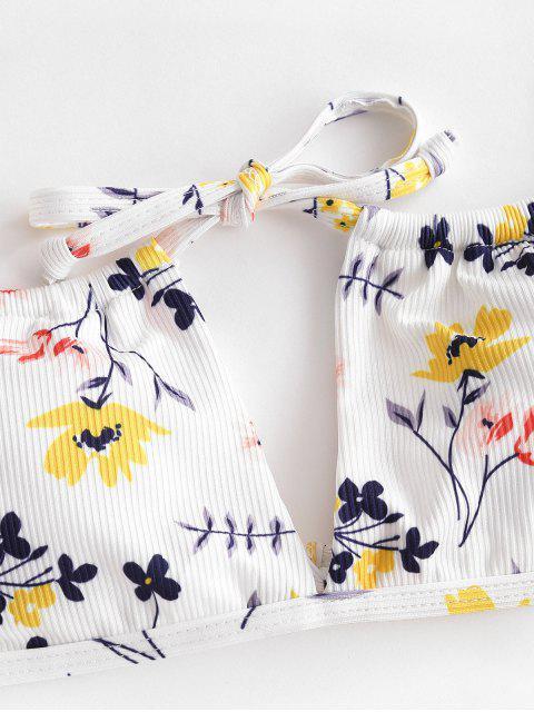 online ZAFUL Plant Print Ribbed String Bikini Swimwear - MULTI-A S Mobile