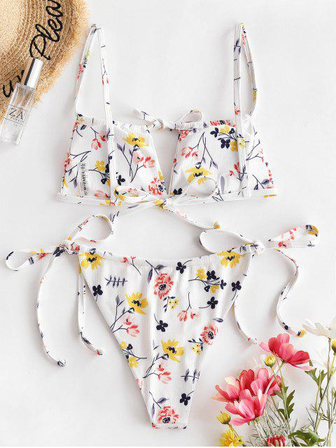 new ZAFUL Plant Print Ribbed String Bikini Swimwear - MULTI-A M Mobile
