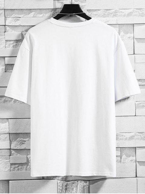 T-Shirt Basic con Grafica di Caratteri Cinesi - Bianca 4XL Mobile