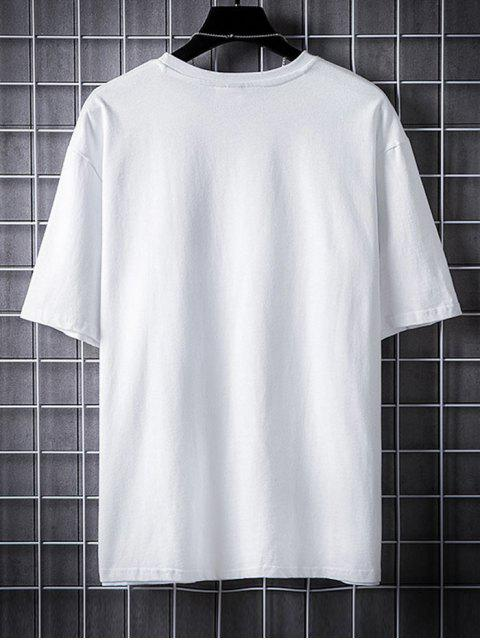 Camiseta Casual de Dibujo Animado con Mangas Cortas - Blanco 2XL Mobile