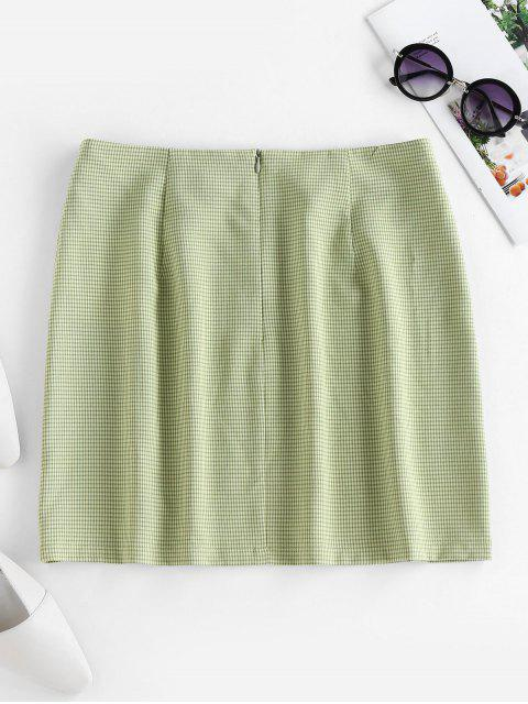chic ZAFUL Plaid Slit Mini Skirt - GREEN L Mobile