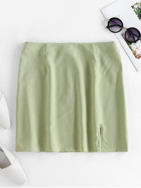 chic ZAFUL Plaid Slit Mini Skirt - GREEN XL Mobile