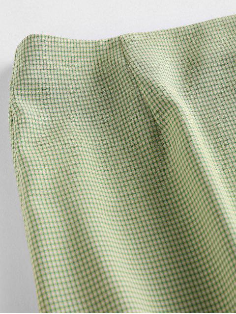 women ZAFUL Plaid Slit Mini Skirt - GREEN S Mobile