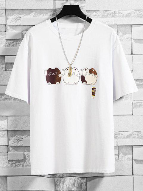 T-Shirt Casuale con Stampa Gatto di Cartone - Bianca 3XL Mobile