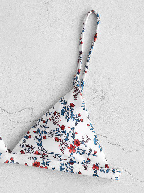 ladies ZAFUL Leaf Print High Leg Bikini Set - MILK WHITE S Mobile