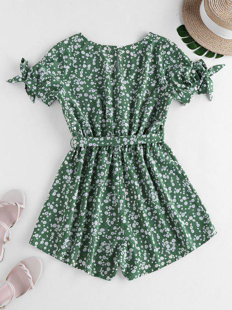 women ZAFUL Tie Sleeve Tiny Floral Print Romper - CLOVER GREEN S Mobile
