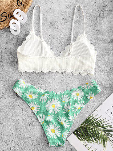 women ZAFUL Flower Ribbed Scalloped Tank Bikini Swimwear - WHITE L Mobile