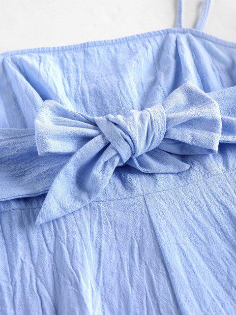 ZAFUL Barboteuse à Bretelle Jambe Large avec Nœud Papillon - Bleu Ciel Léger  XL Mobile