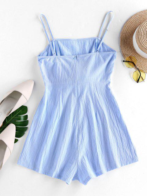 shops ZAFUL Bowknot Cami Wide Leg Romper - LIGHT SKY BLUE S Mobile