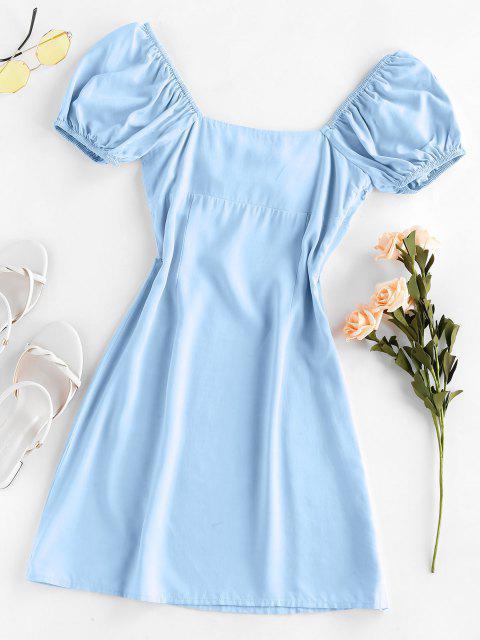 ZAFUL Verknotetes Schlitz Milkmaid Kleid - Jeans Blau M Mobile