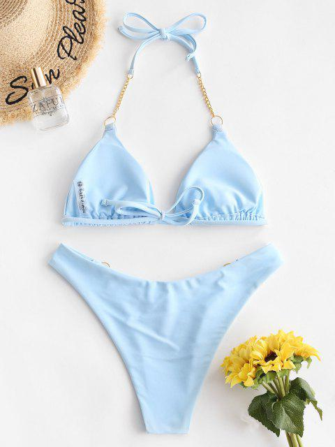 ZAFUL Maillot de Bain Bikini Chaîne en O à Coupe Haute à Col Halter - Bleu clair L Mobile