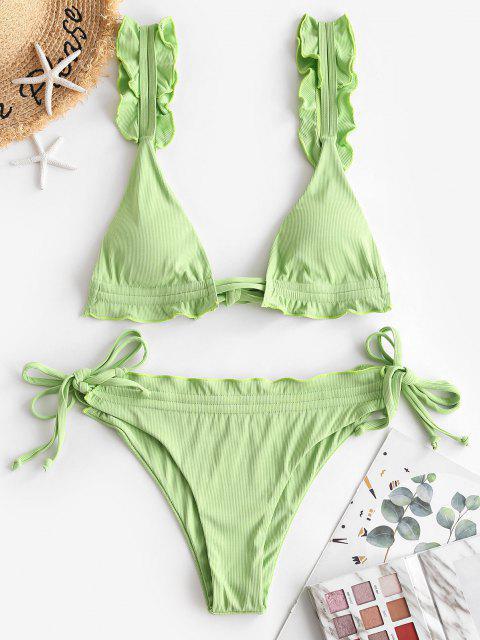 affordable ZAFUL Ribbed Frilled String Bikini Swimwear - LIGHT GREEN M Mobile