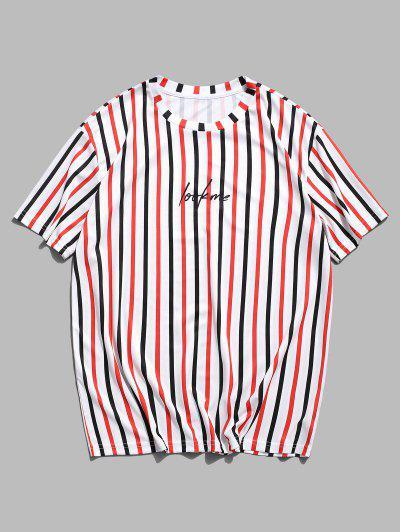 T-shirt Lettre Rayé Imprimé à Manches Courtes - Blanc M
