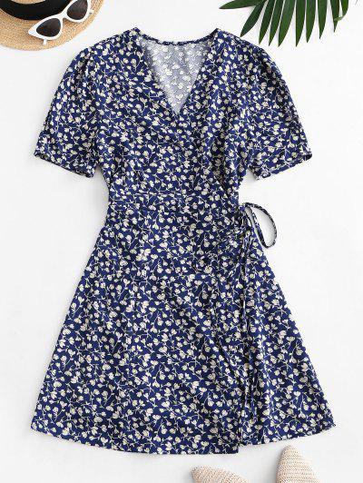 Tiny Floral Wrap Mini Dress - Blue M