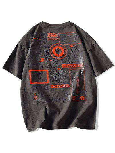 Comic Graphic Print Round Neck T Shirt - Dark Gray Xl