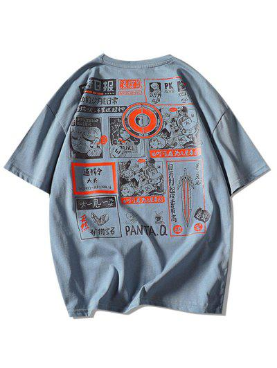Comic Graphic Print Round Neck T Shirt - Denim Blue M