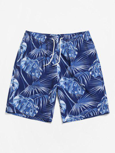 Leaf Printing Drawstring Shorts - Cadetblue S