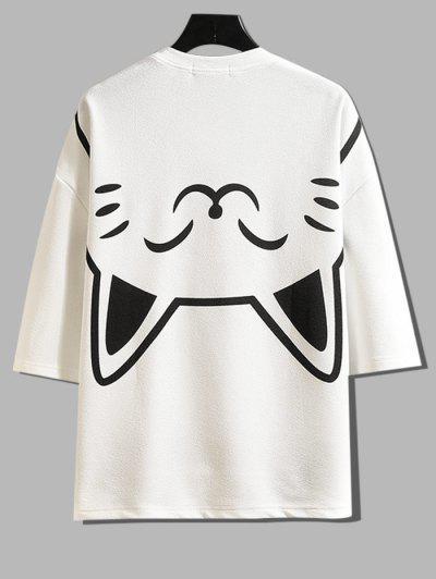 Fortune Cat Graphic Side Slit Pocket Drop Shoulder Tee - White M