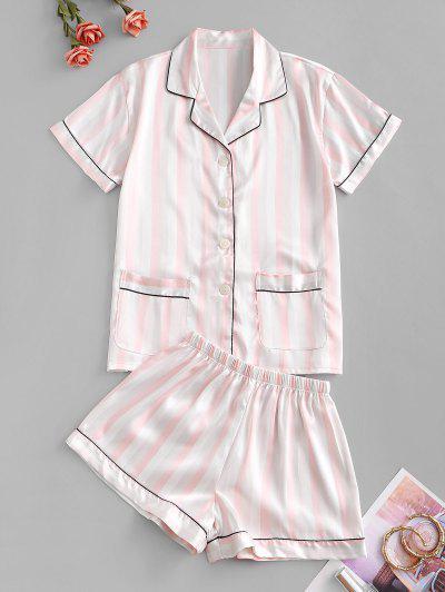 Striped Pocket Contrast Piping Pajama Shorts Set - Sakura Pink L