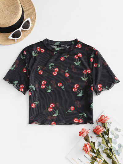 ZAFUL Mesh Cherry Print Crop T-shirt - Black M