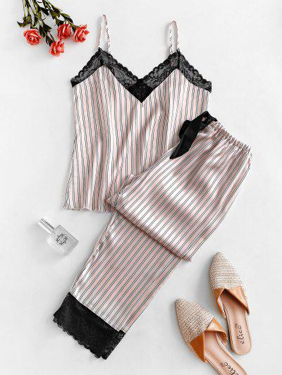 Striped Lace Insert Bowknot Silky Pajama Pants Set - Pink S