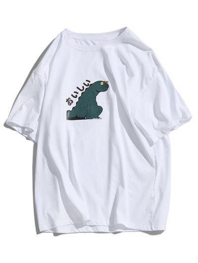 Basic Cartoon Dinosaur Graphic T-shirt - White Xs