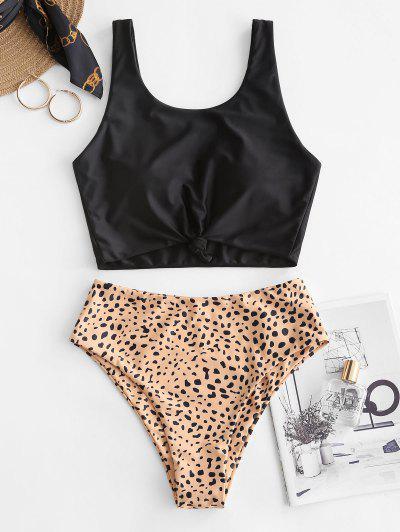 ZAFUL Knot Animal Print Tankini Swimsuit - Orange Gold L