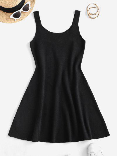 Sleeveless Plain Knitted Mini Dress - Black