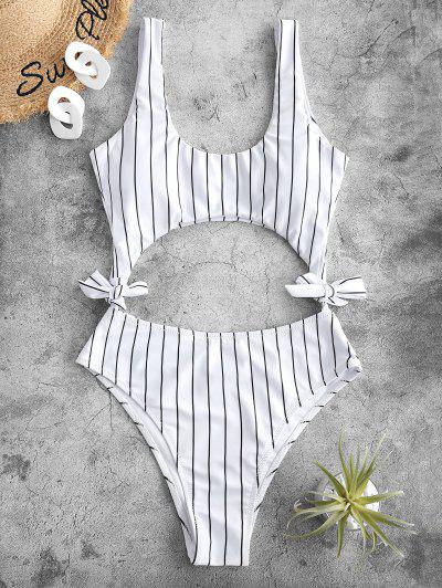 ZAFUL Striped Cutout Tie Side One-piece Swimsuit - White S