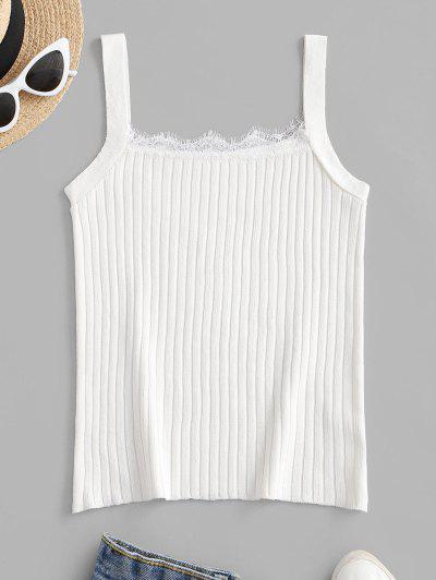 Knitted Eyelash Lace Panel Tank Top - White