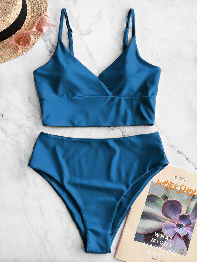ZAFUL Surplice High Cut Cami Tankini Swimsuit - Ocean Blue L