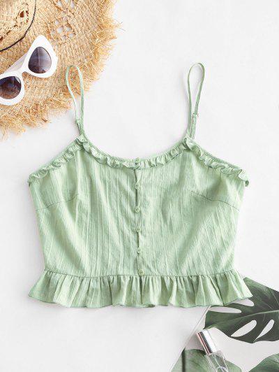 ZAFUL Ruffle Button Up Crop Camisole - Light Green S