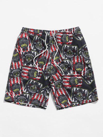 Letter Graphic Printed Drawstring Shorts - Black Xs