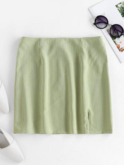 ZAFUL Plaid Slit Mini Skirt - Green L