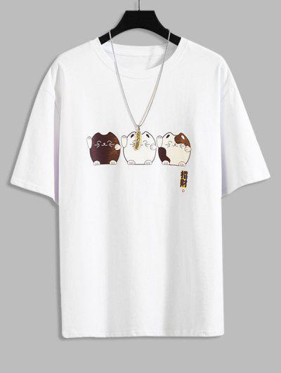 Cartoon Fortune Cat Print Cute T-shirt - White 3xl