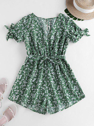 ZAFUL Tie Sleeve Tiny Floral Print Romper - Clover Green S