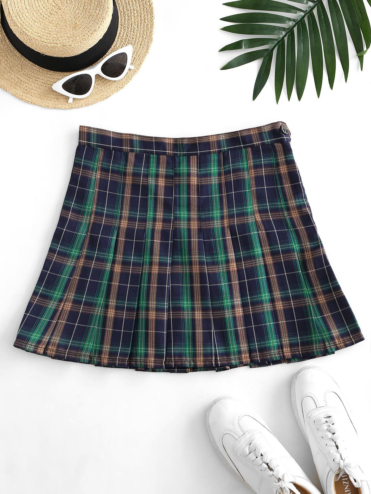 Side Zipper Plaid Pleated Mini Skirt thumbnail