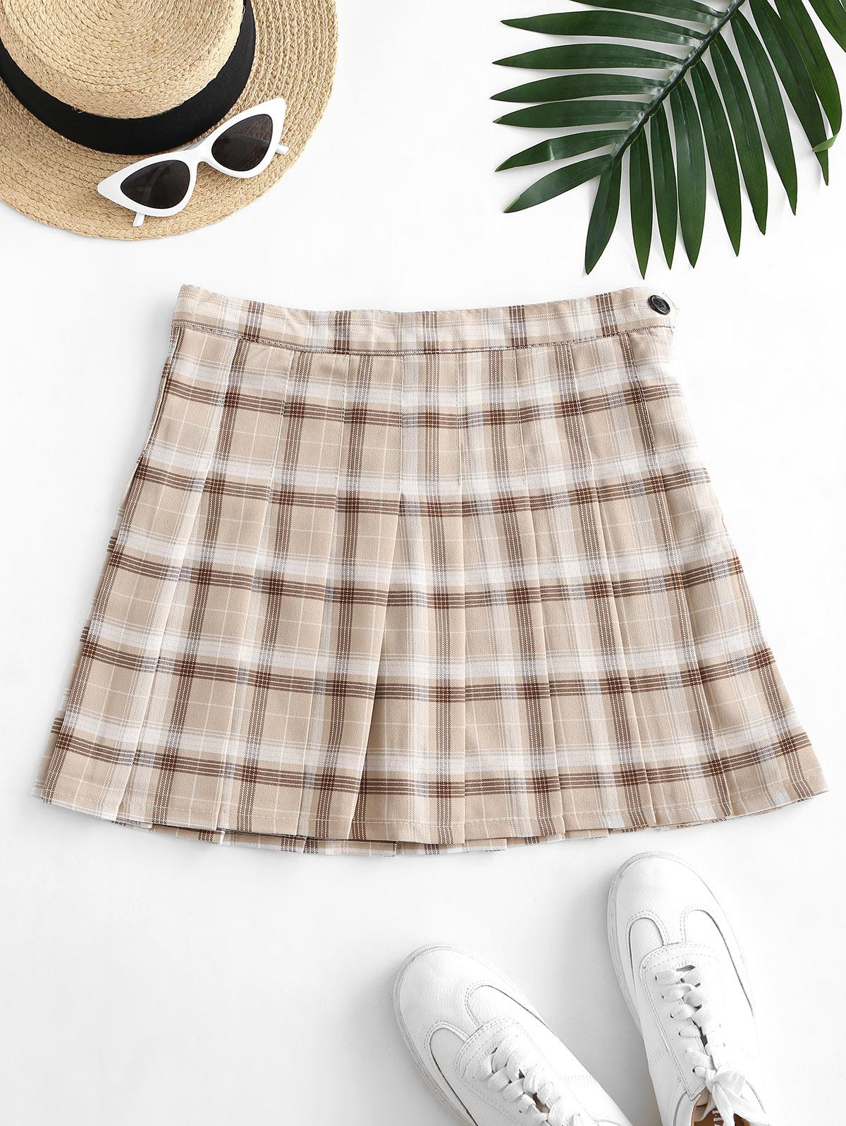 Side Zipper Plaid Pleated Mini Skirt
