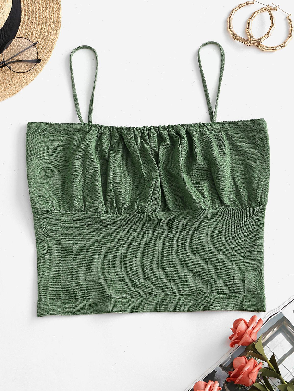 Solid Ruched Front Knitted Cami Top