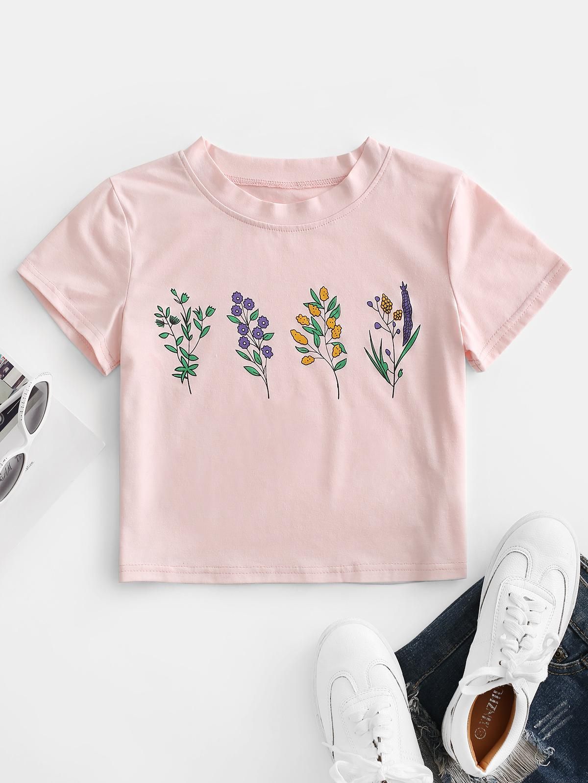 ZAFUL Flower Print Crop T-shirt thumbnail