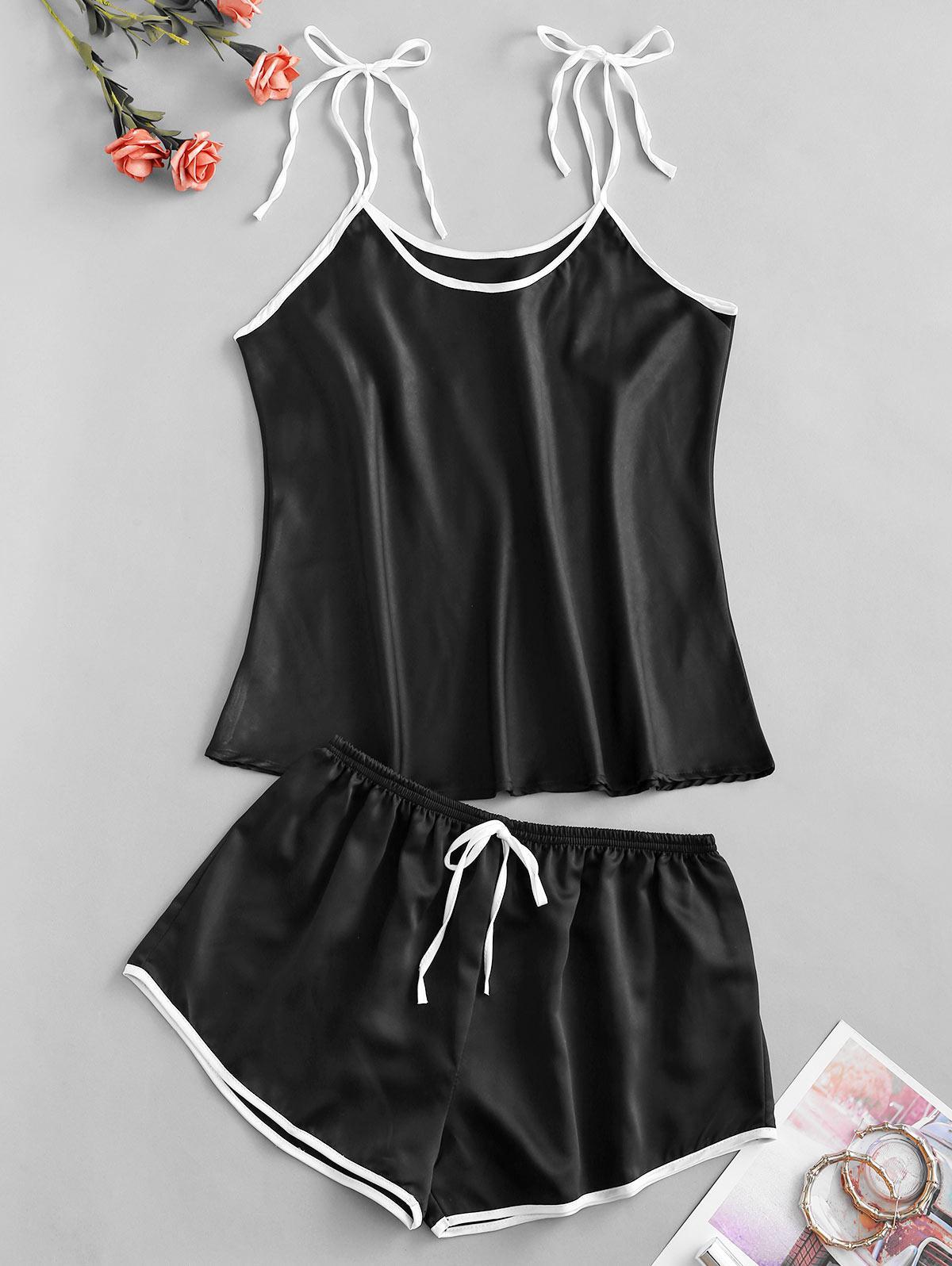 Contrast Trim Tie Shoulder Bowknot Pajama Shorts Set