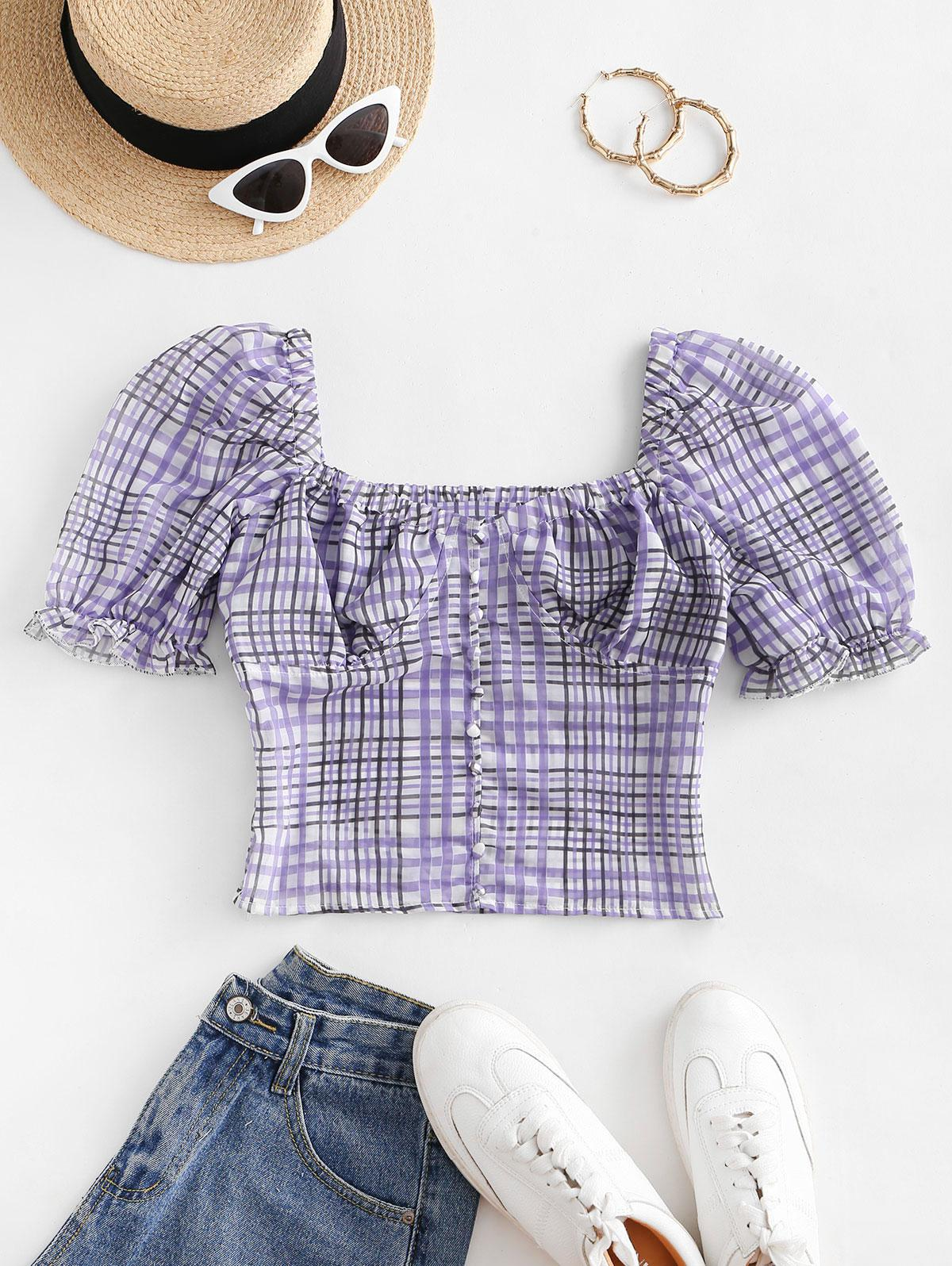 Puff Sleeve Plaid Buttoned Milkmaid Blouse