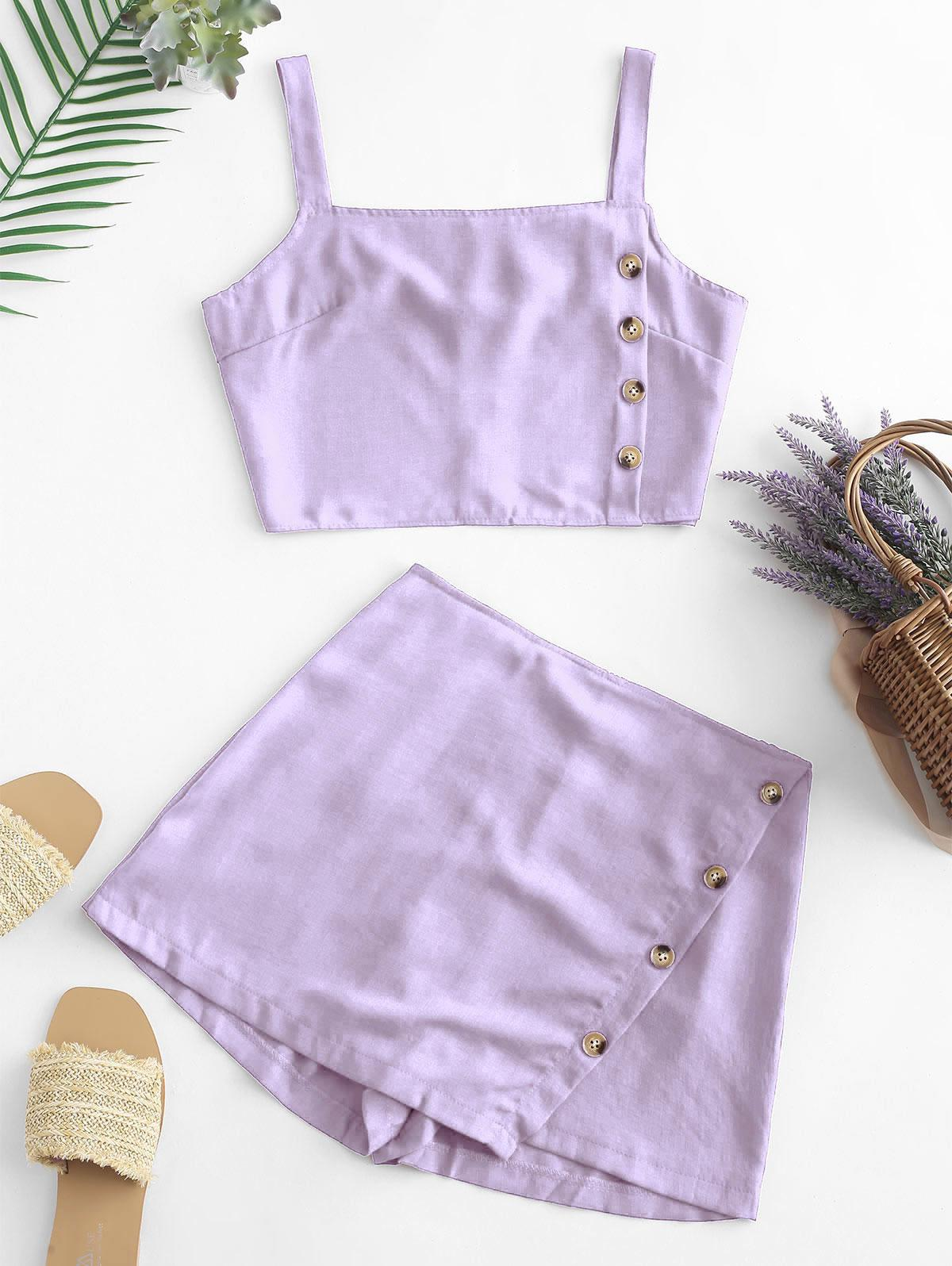 Buttons Crop Top and Overlap Shorts Set