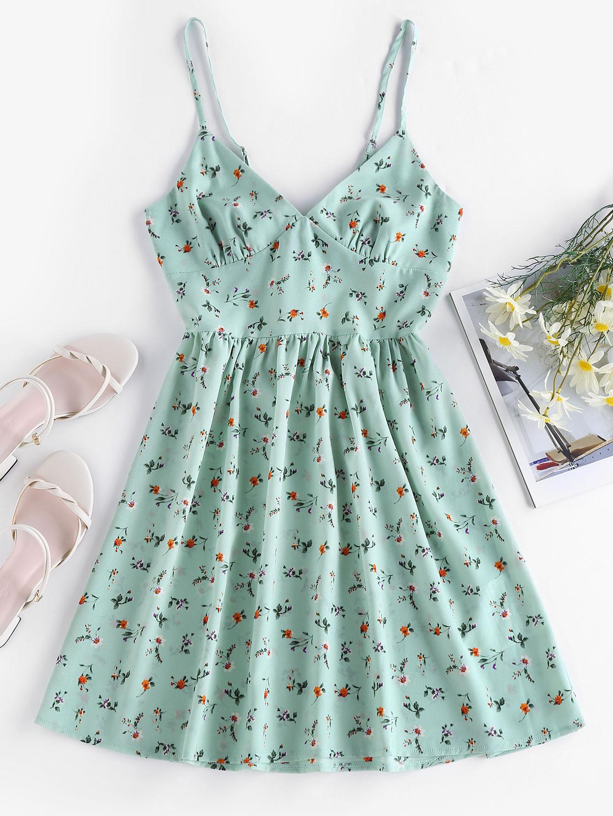 ZAFUL Ditsy Print Back Knot Sundress