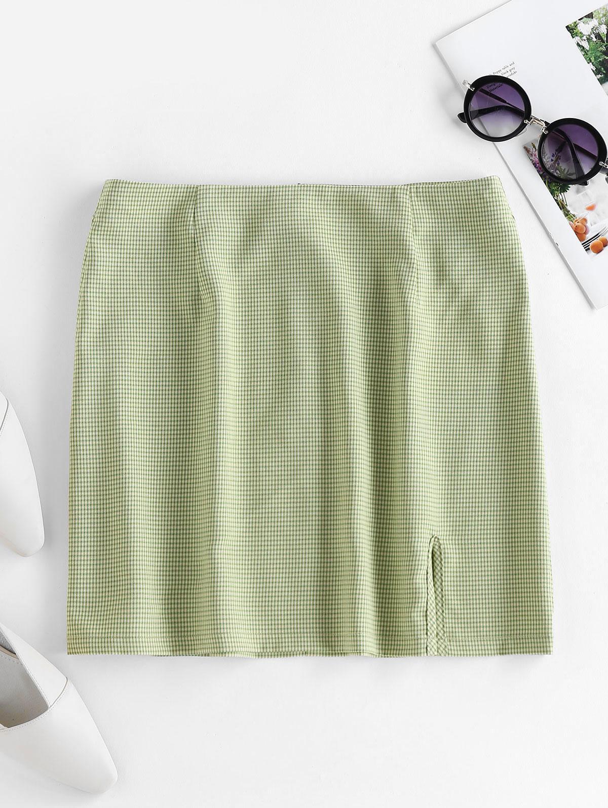 ZAFUL Plaid Slit Mini Skirt