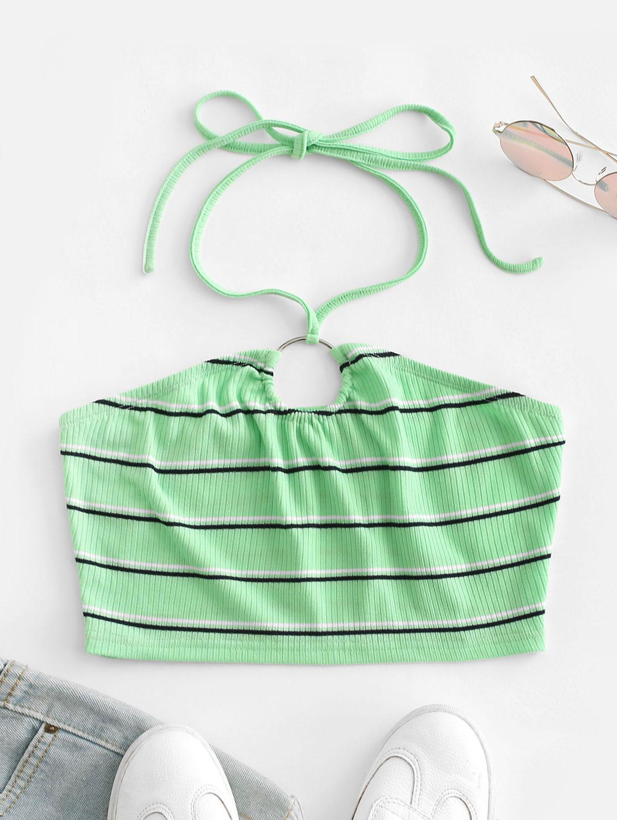 ZAFUL Ribbed Striped Ring Linked Halter Crop Top