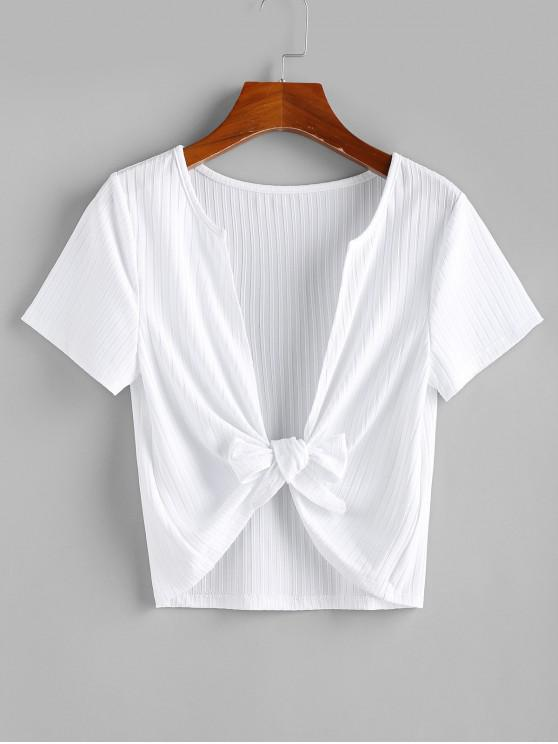 shops ZAFUL Knitted Plunging Tie Front Top - WHITE L