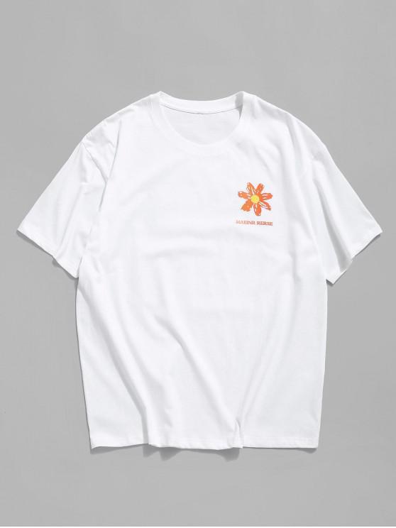 fashion Floral Paint Letter Graphic Basic T-shirt - WHITE 3XL